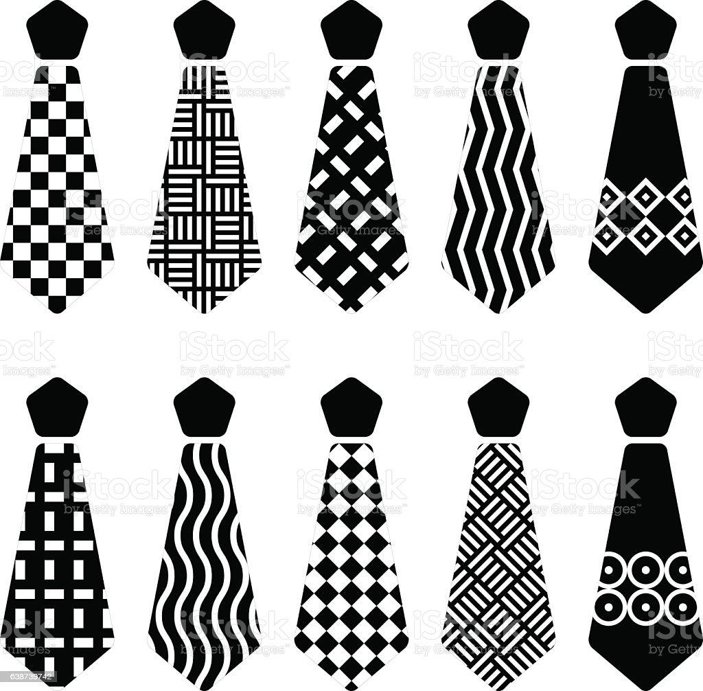 tie black silhouettes vector art illustration