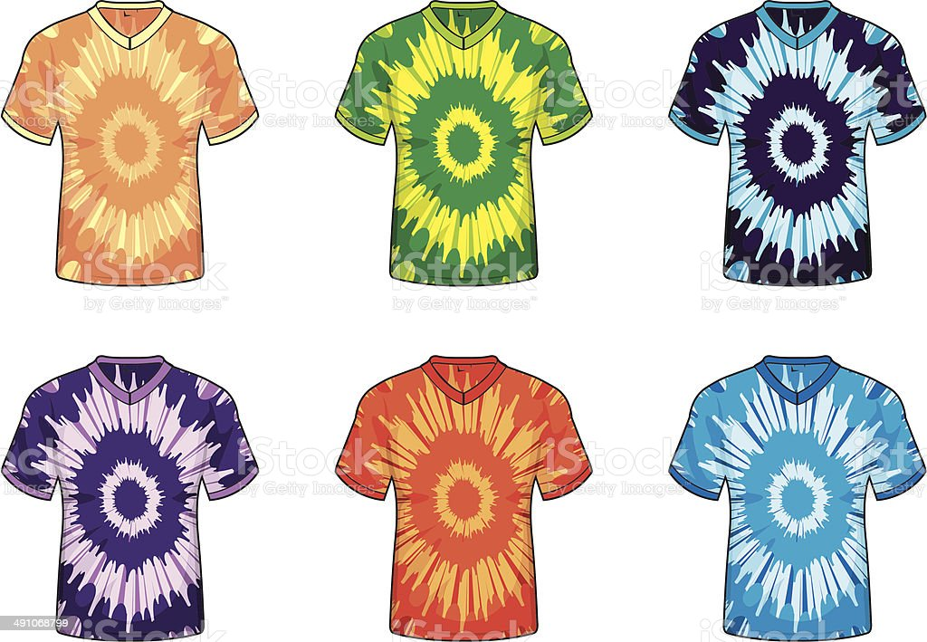 Tie Dye Shirts vector art illustration