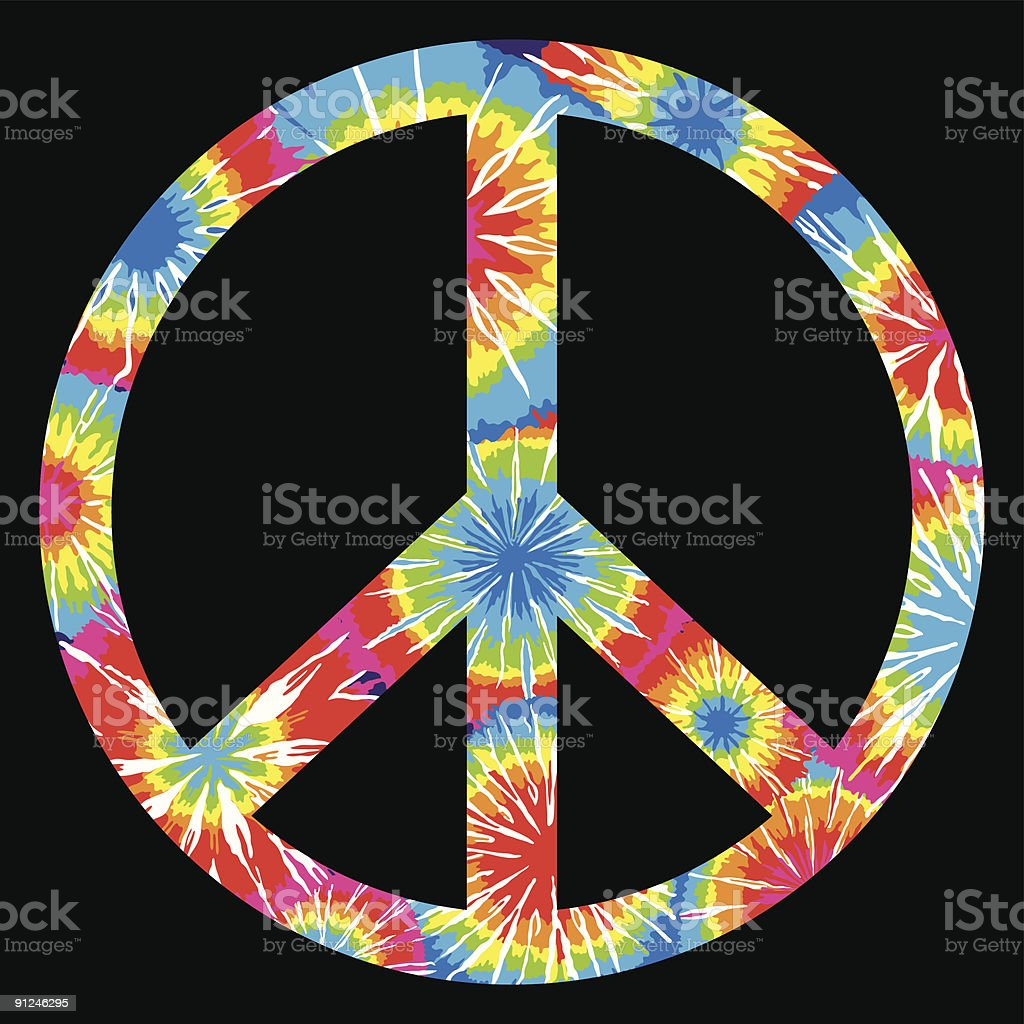 Tie Dyed Peace Symbol vector art illustration