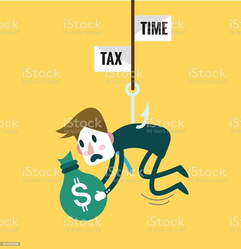 Tied Business Man with tax fishing hook. vector art illustration