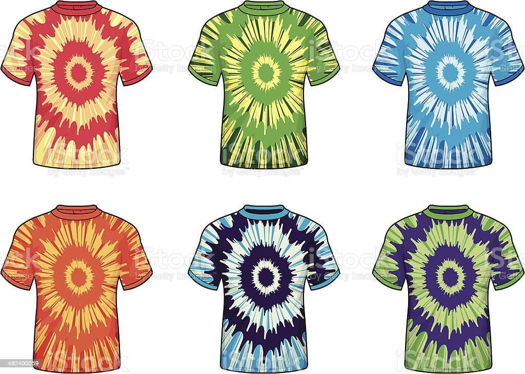 Tie-dye Shirts vector art illustration