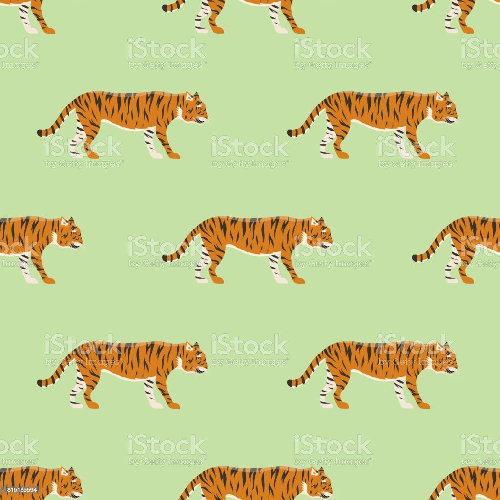 Tiger action wildlife animal danger mammal seamless pattern fur wild bengal wildcat character vector illustration vector art illustration