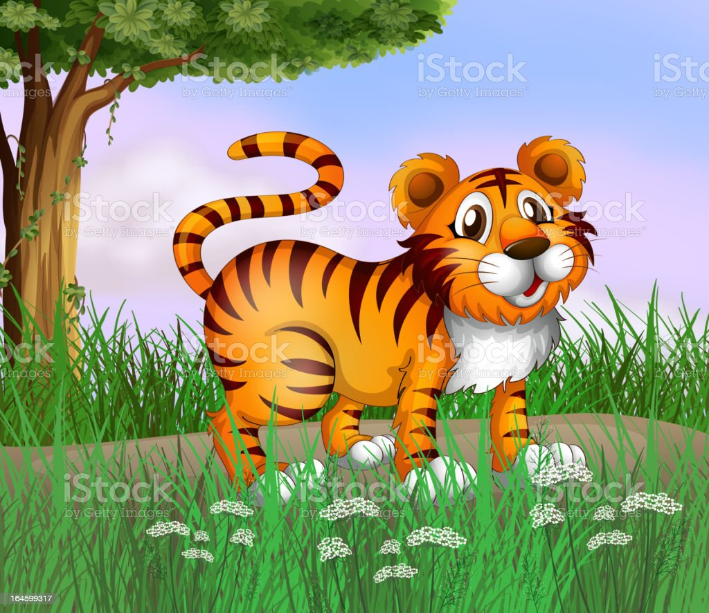 Tiger and a beautiful nature royalty-free stock vector art