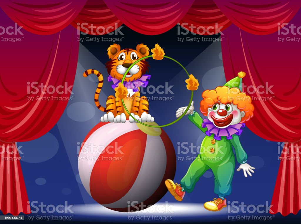 Tiger and a clown performing at the stage royalty-free stock vector art
