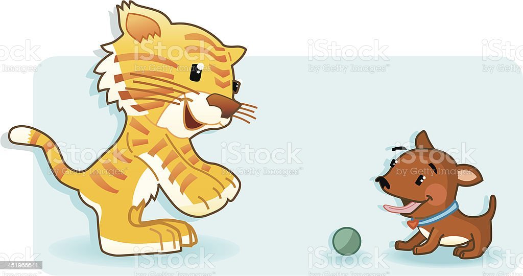 Tiger and Dog are playing. royalty-free stock vector art