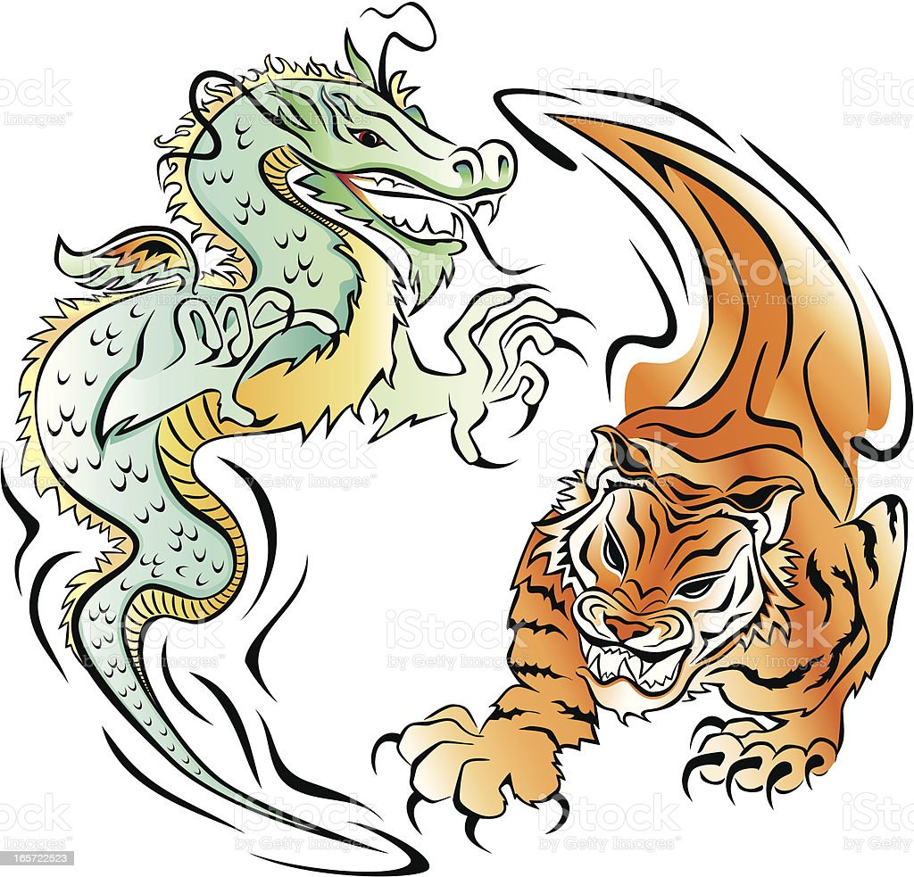 Tiger and Dragon vector art illustration