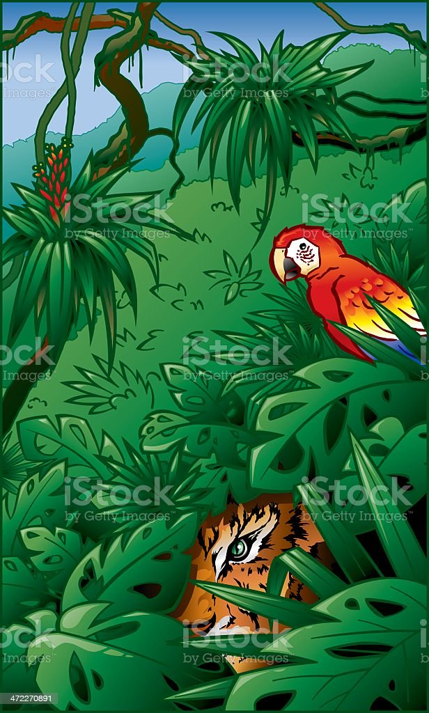 Tiger and Red Macaw in Rainforest Jungle Scene royalty-free stock vector art