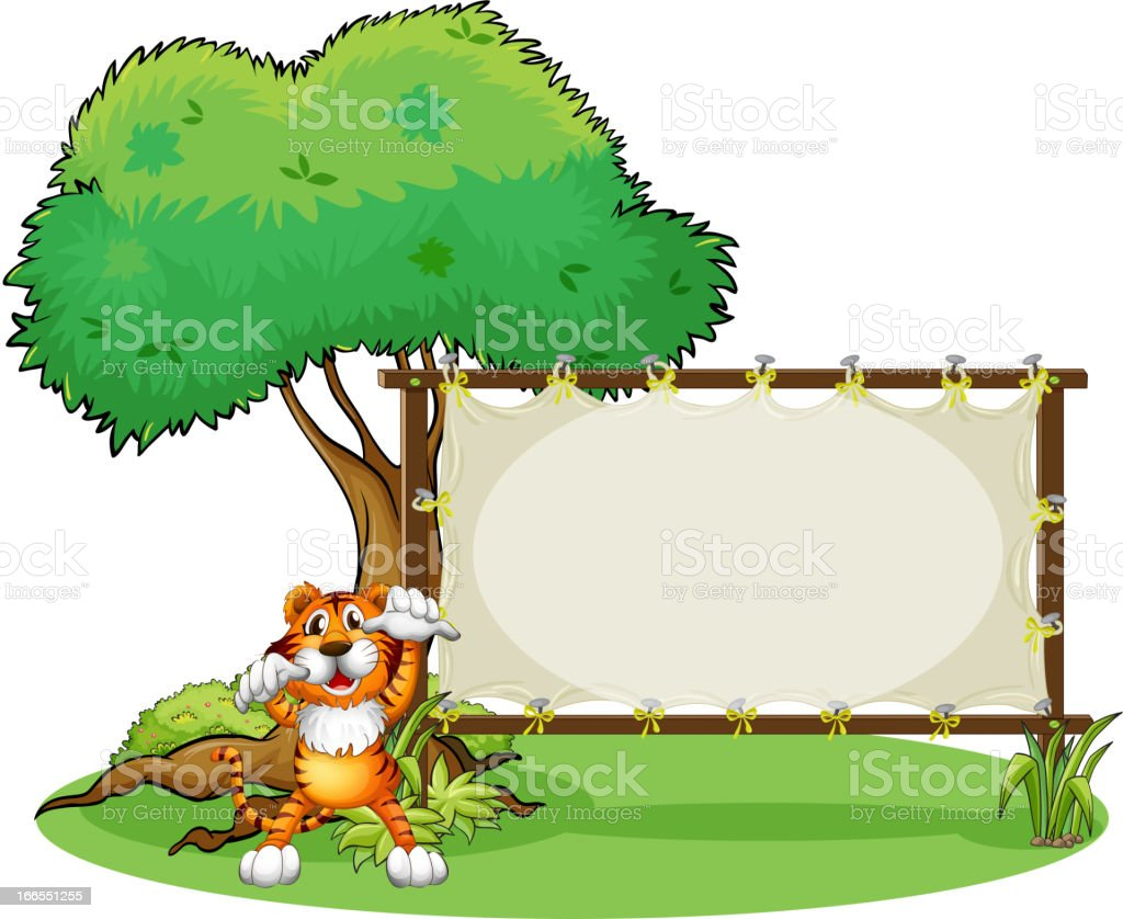 Tiger and the wooden frame vector art illustration
