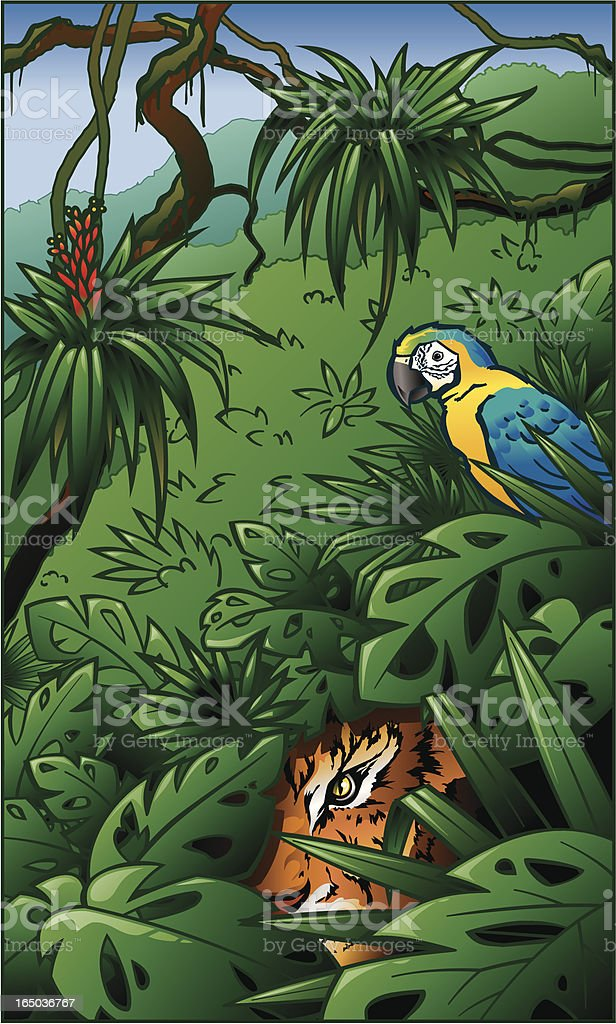 Tiger and Yellow Macaw in Rainforest Jungle Scene royalty-free stock vector art