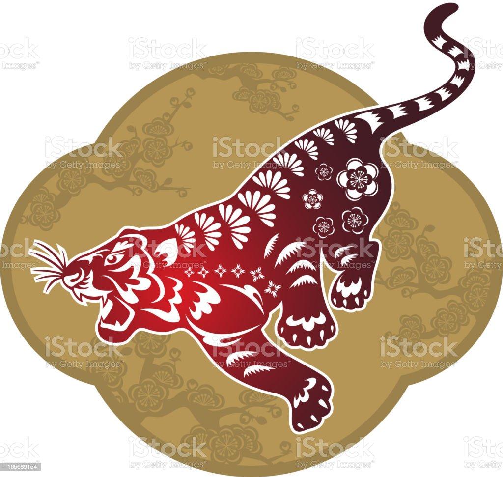 Tiger Art Chinese Paper-cut Art royalty-free stock vector art
