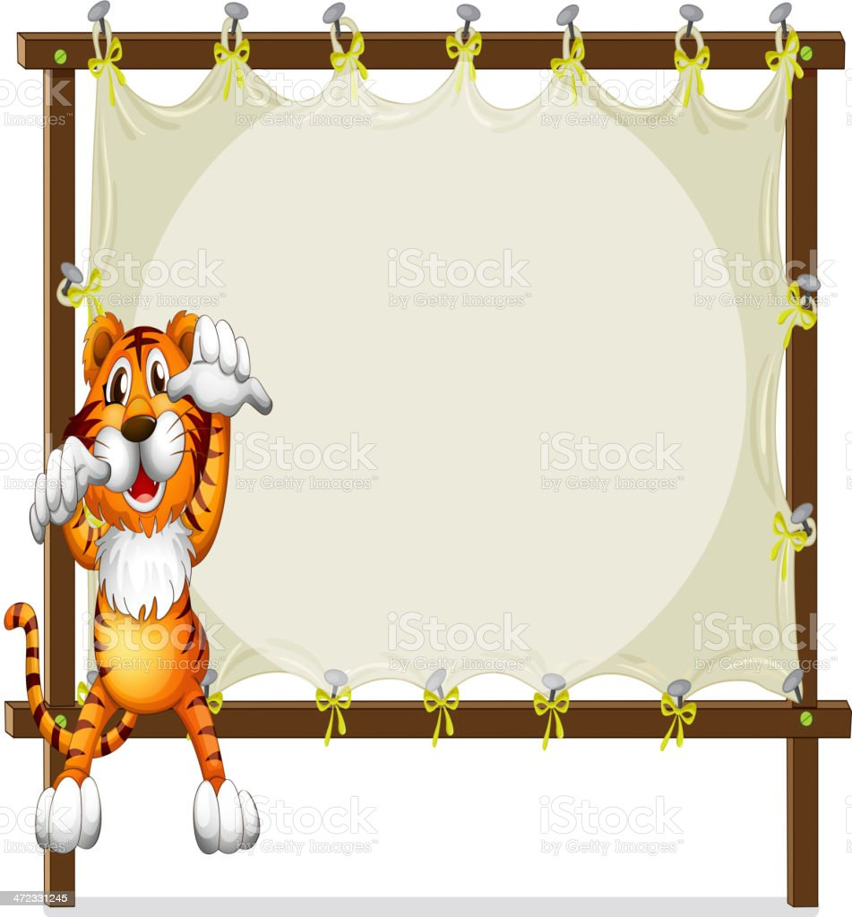Tiger attempting to jump royalty-free stock vector art
