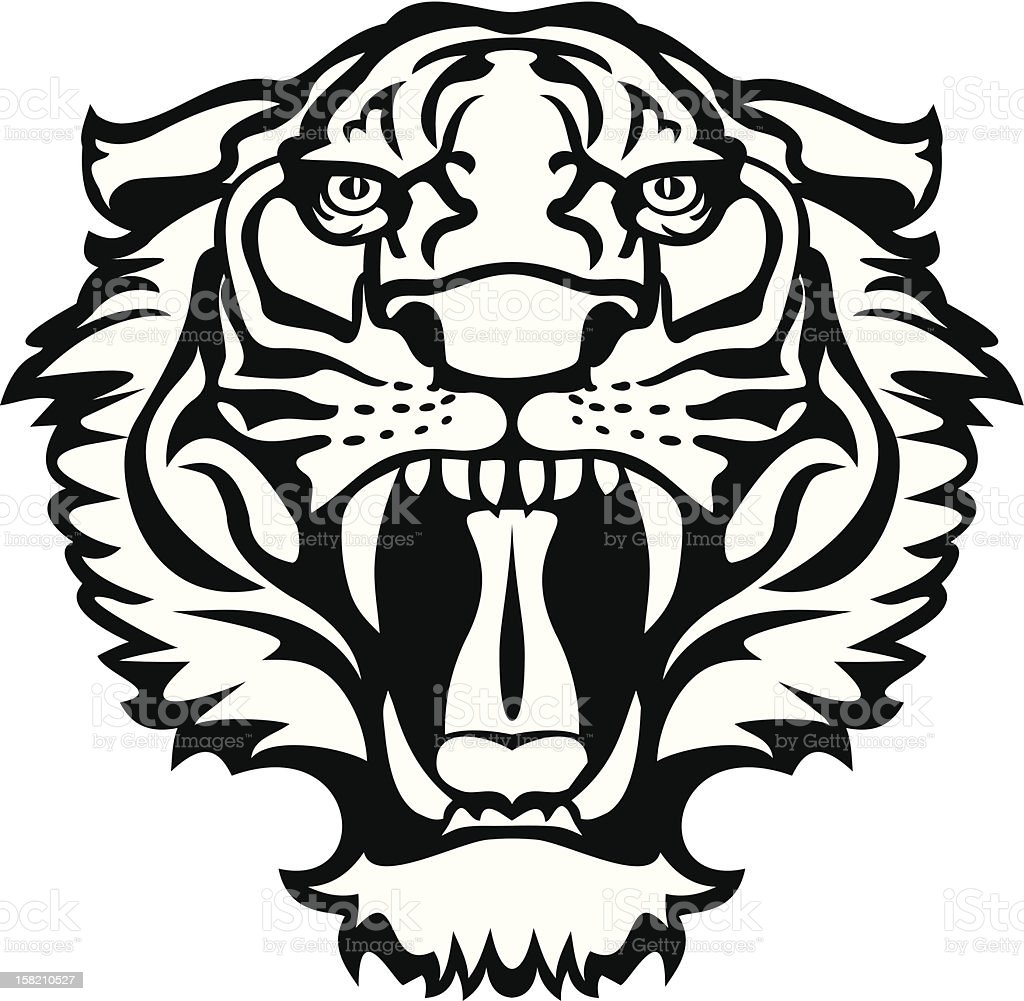 Tiger black/white tattoo vector art illustration