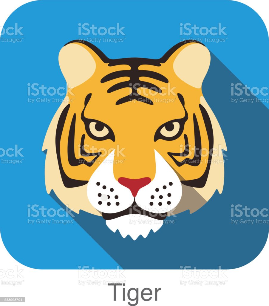 Tiger, Cat breed face cartoon flat icon design vector art illustration