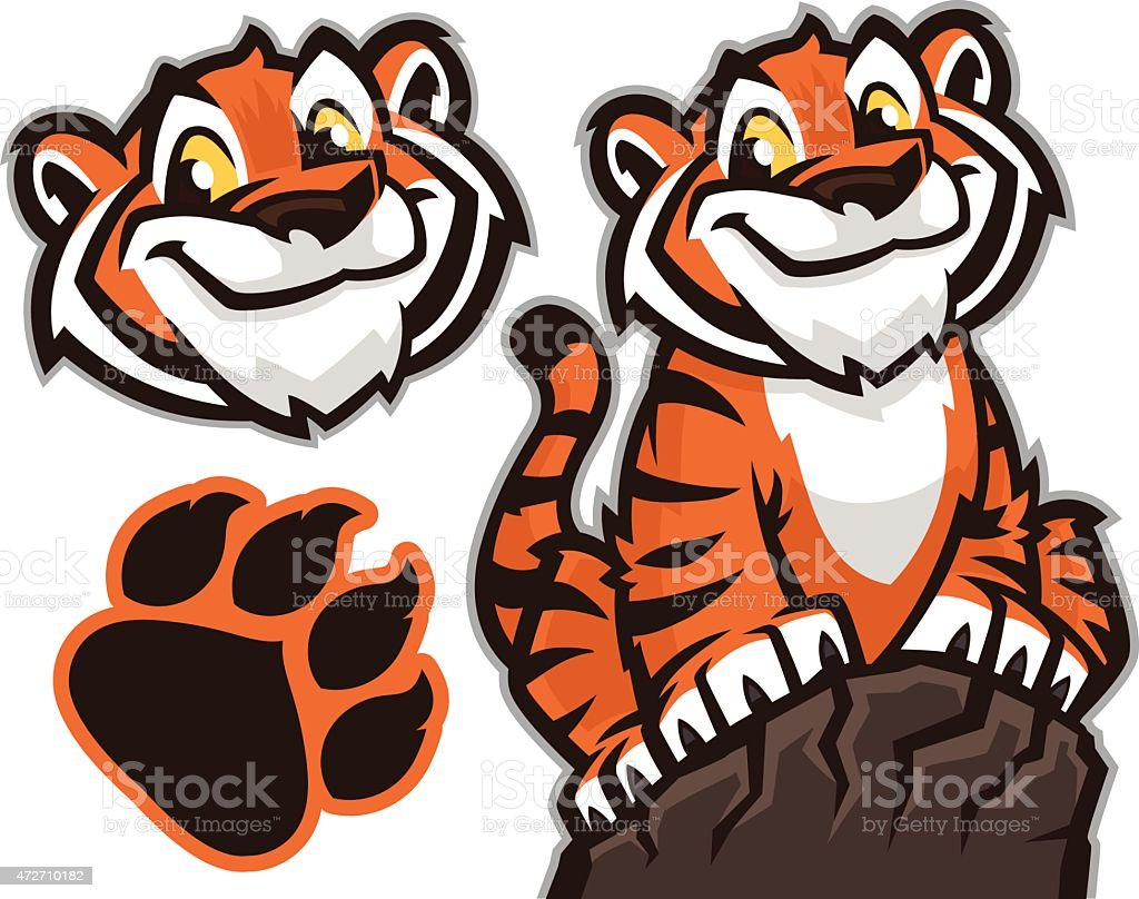 Tiger cub pack vector art illustration