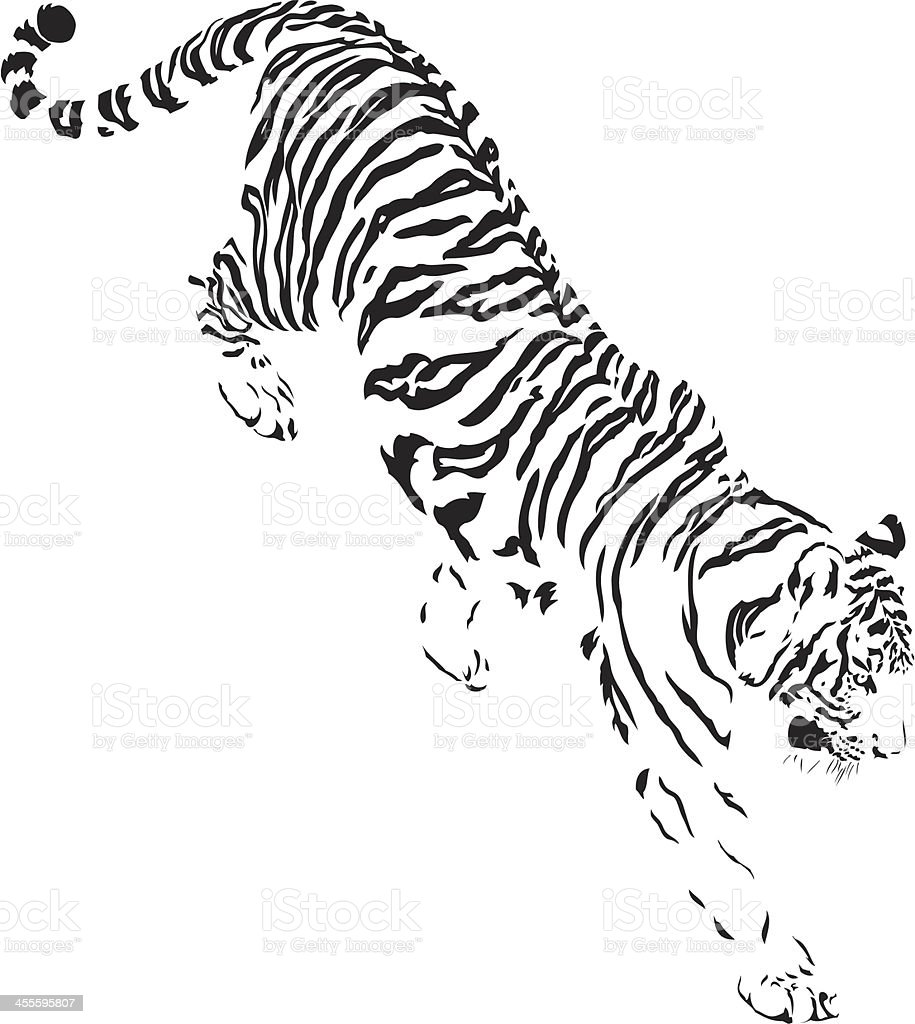 Tiger descending B&W royalty-free stock vector art