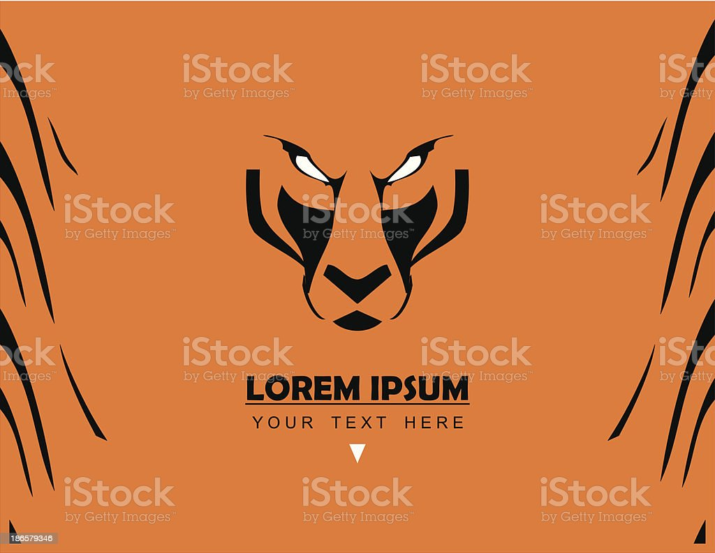 Tiger Face and Pattern, combine with text royalty-free stock vector art