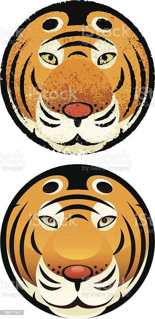 tiger head in circle royalty-free stock vector art