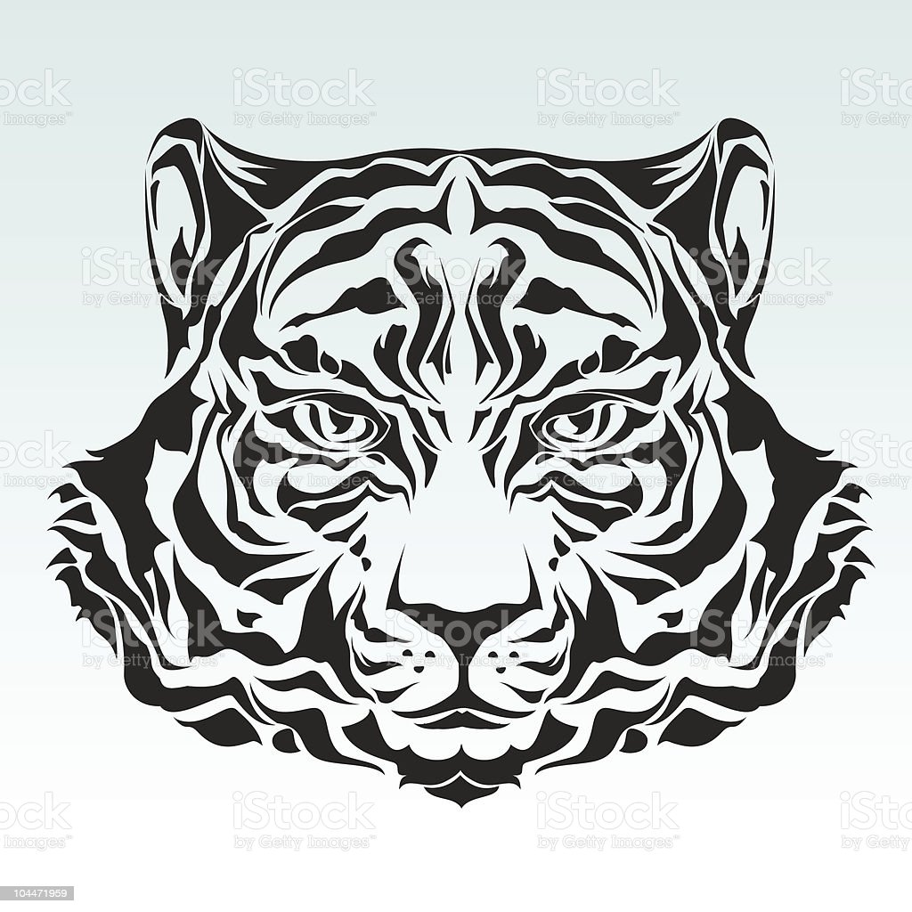 Tiger head silhouette royalty-free stock vector art