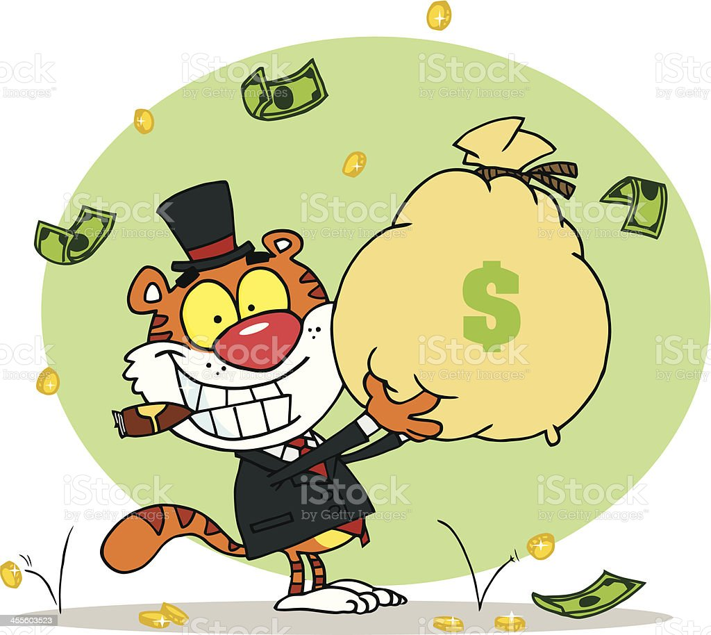 Tiger Holding A Bag Of Cash With Background royalty-free stock vector art