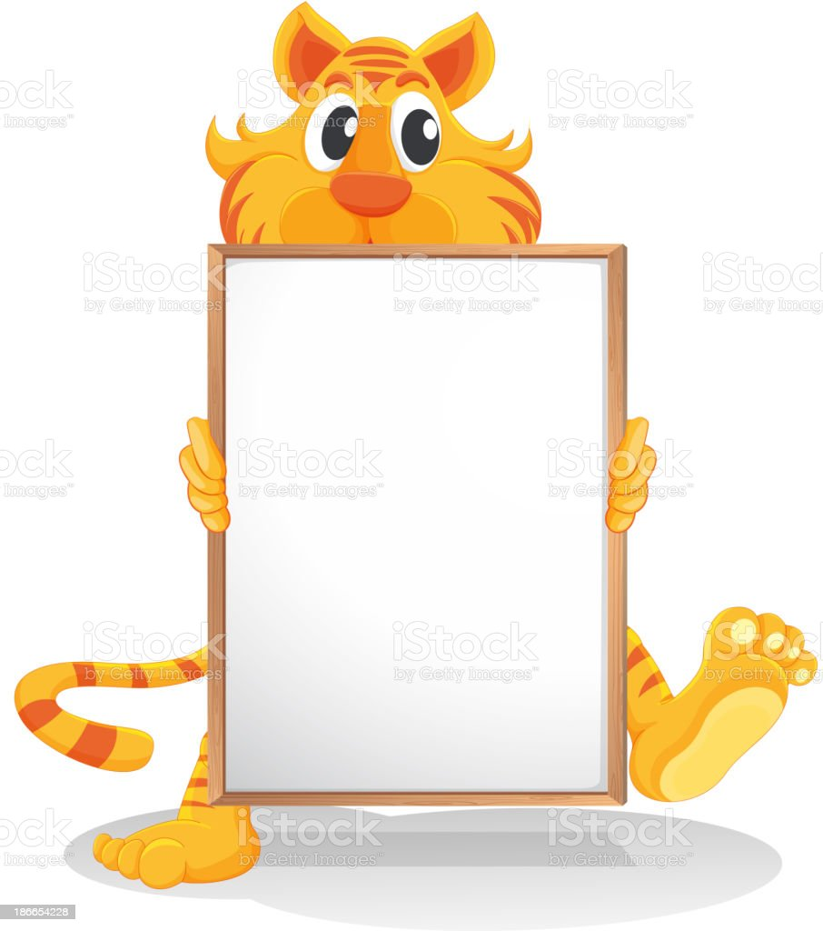 tiger holding an empty whiteboard royalty-free stock vector art