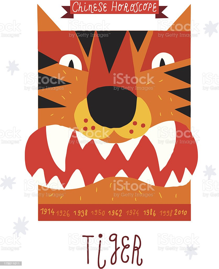 tiger. horoscope vector drawing. royalty-free stock vector art