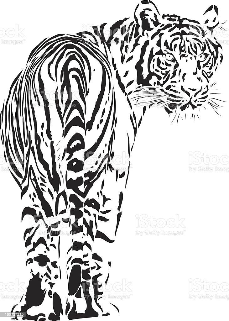 Tiger illustration B&W royalty-free stock vector art