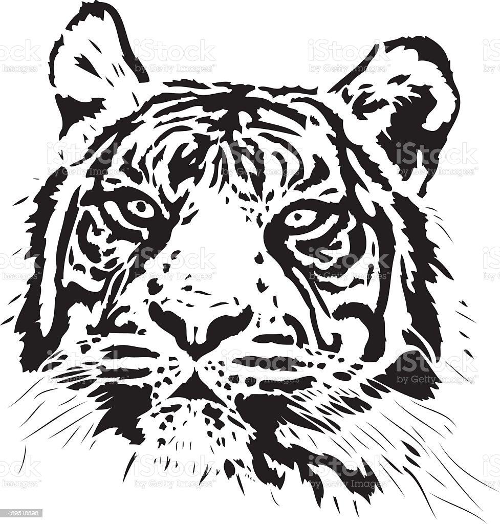 Tiger illustration in black lines vector art illustration