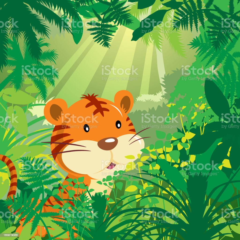 Tiger in Jungle royalty-free stock vector art