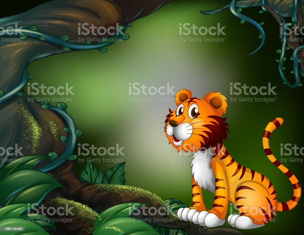 Tiger in the dark forest royalty-free stock vector art