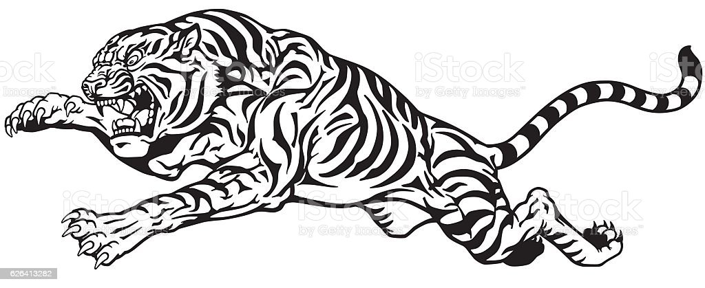 tiger jump black and white vector art illustration