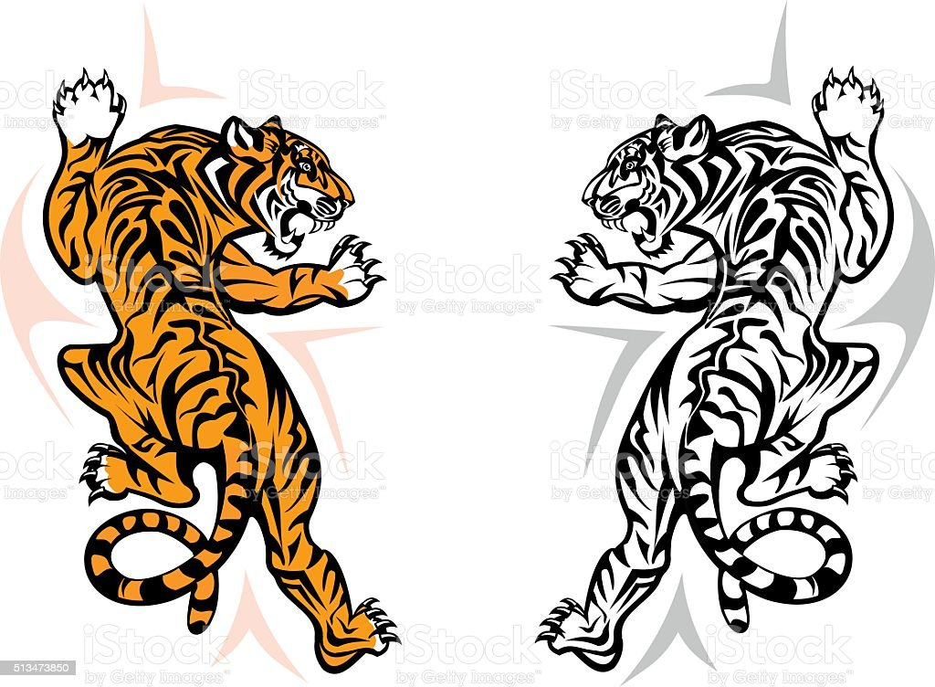 Tiger jumping vector art illustration