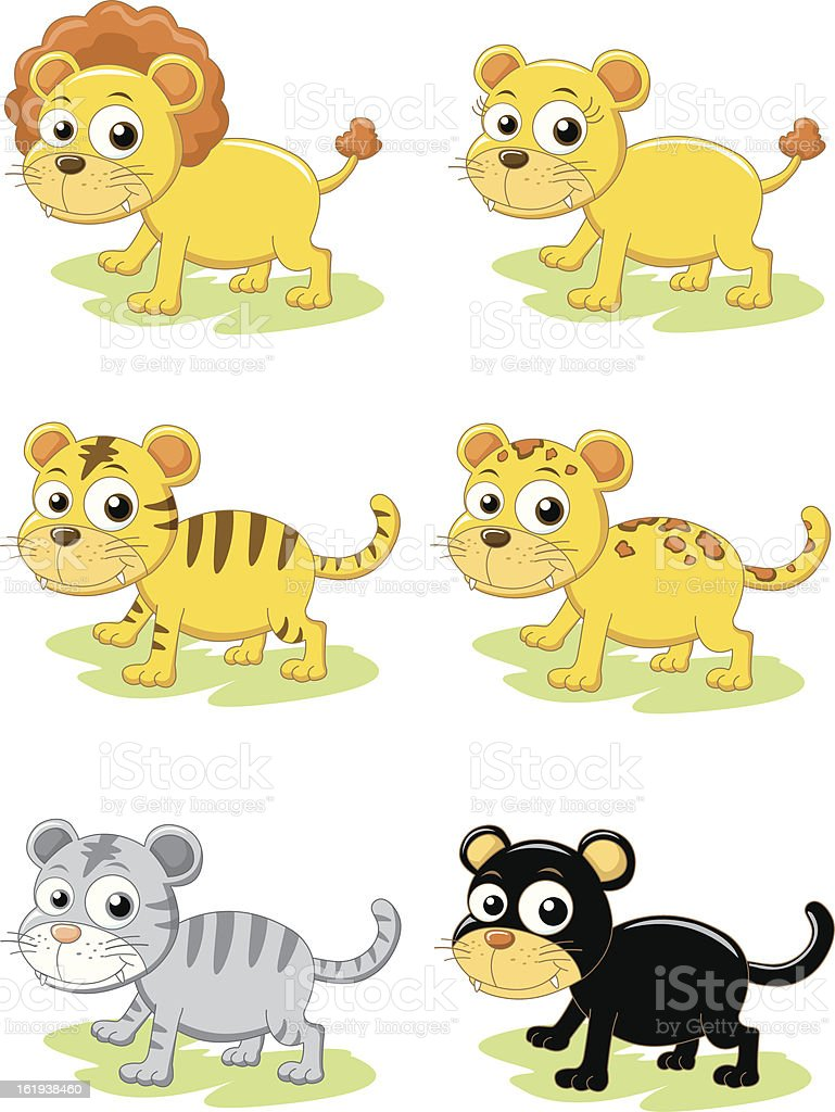 tiger lion set royalty-free stock vector art