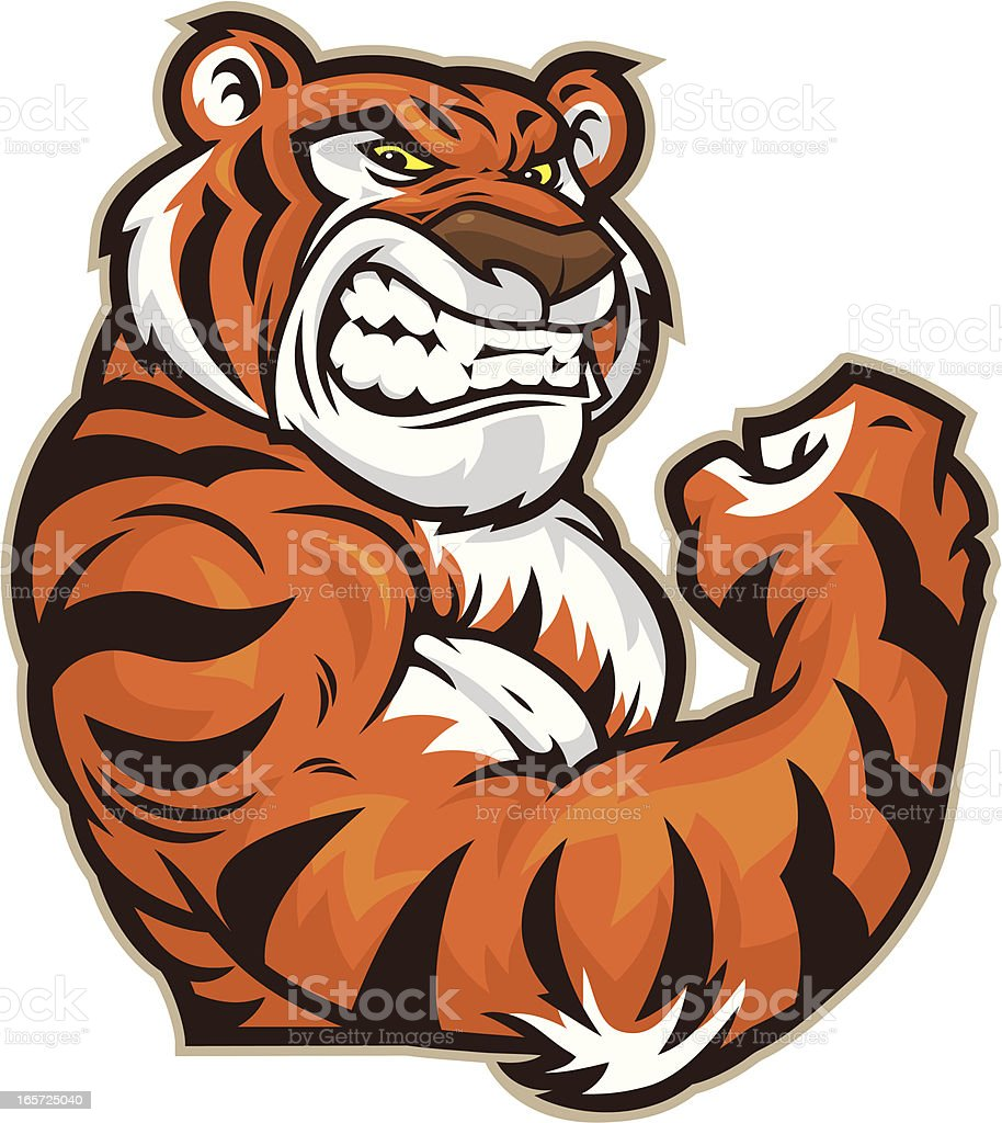 Tiger Mascot Flexing vector art illustration