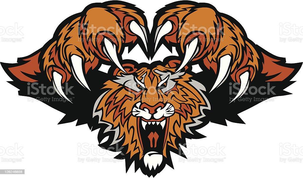 Tiger Mascot Pouncing Graphic Logo vector art illustration