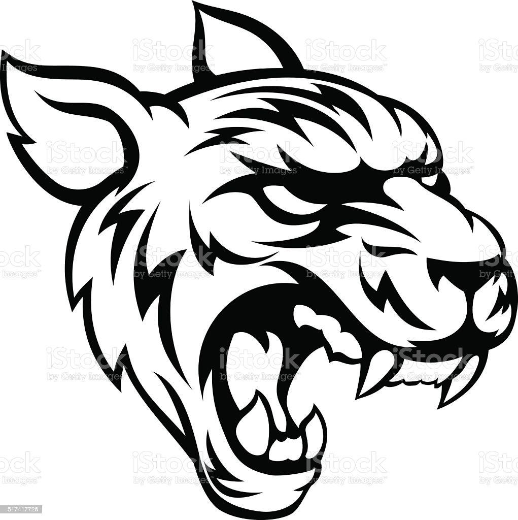 Tiger Mean Animal Mascot vector art illustration