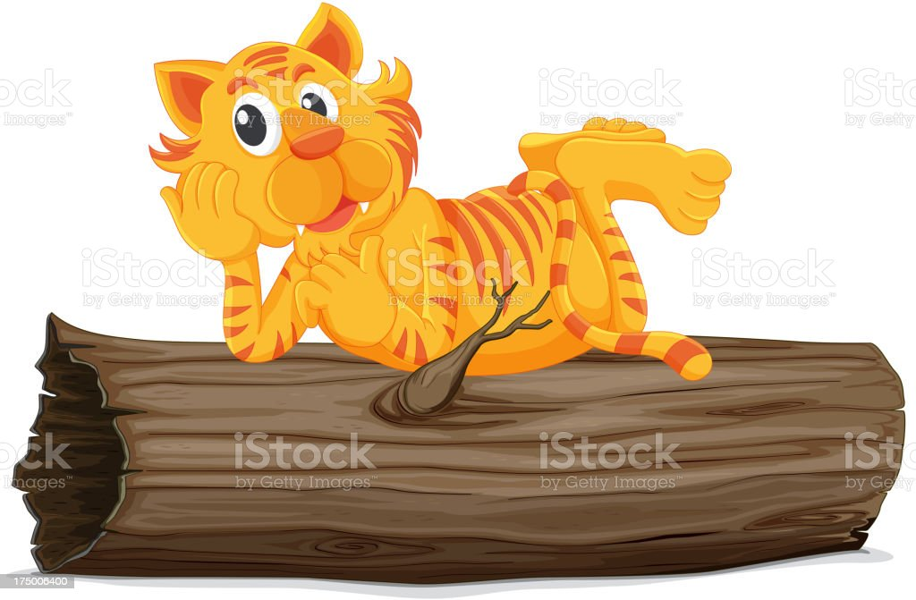 Tiger on a log royalty-free stock vector art