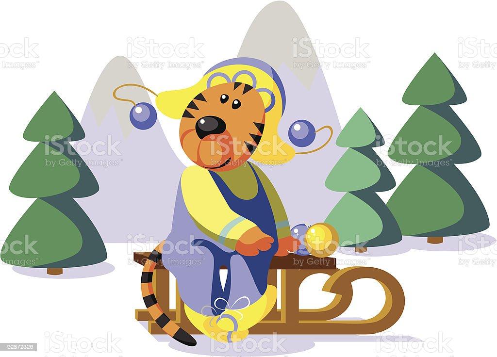 Tiger on sledge 01 royalty-free stock vector art