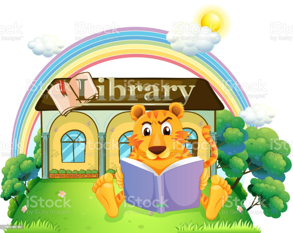 tiger reading a book outside the library royalty-free stock vector art