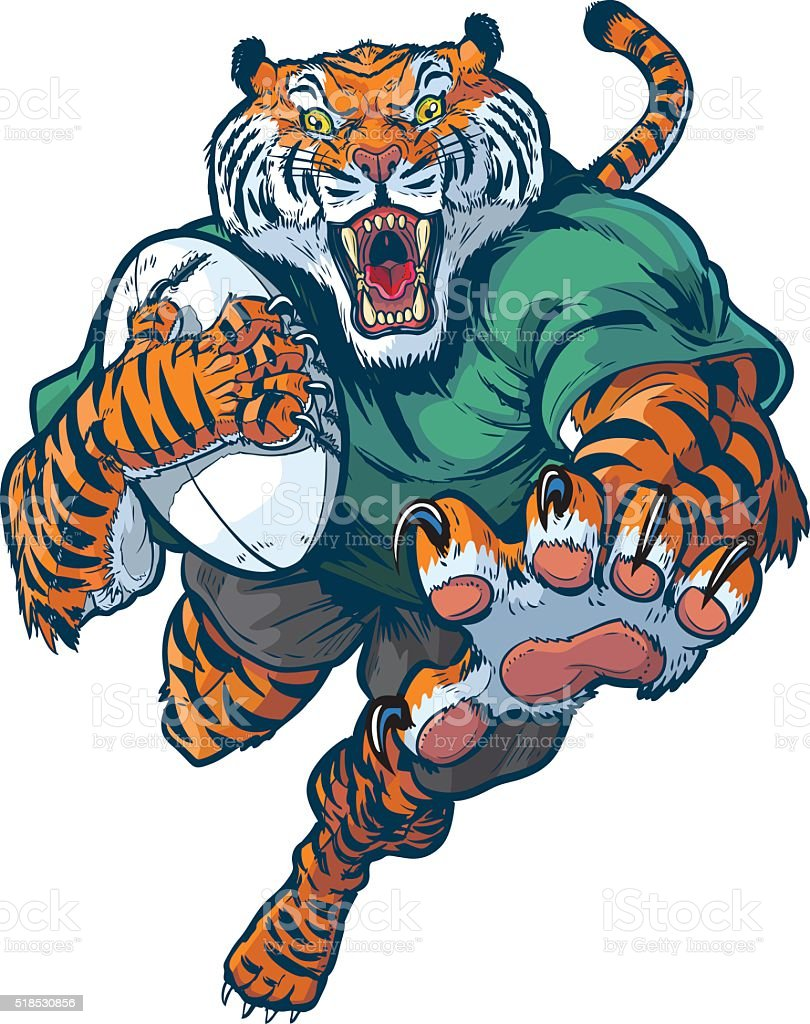 Tiger Rugby Mascot Vector Illustration vector art illustration