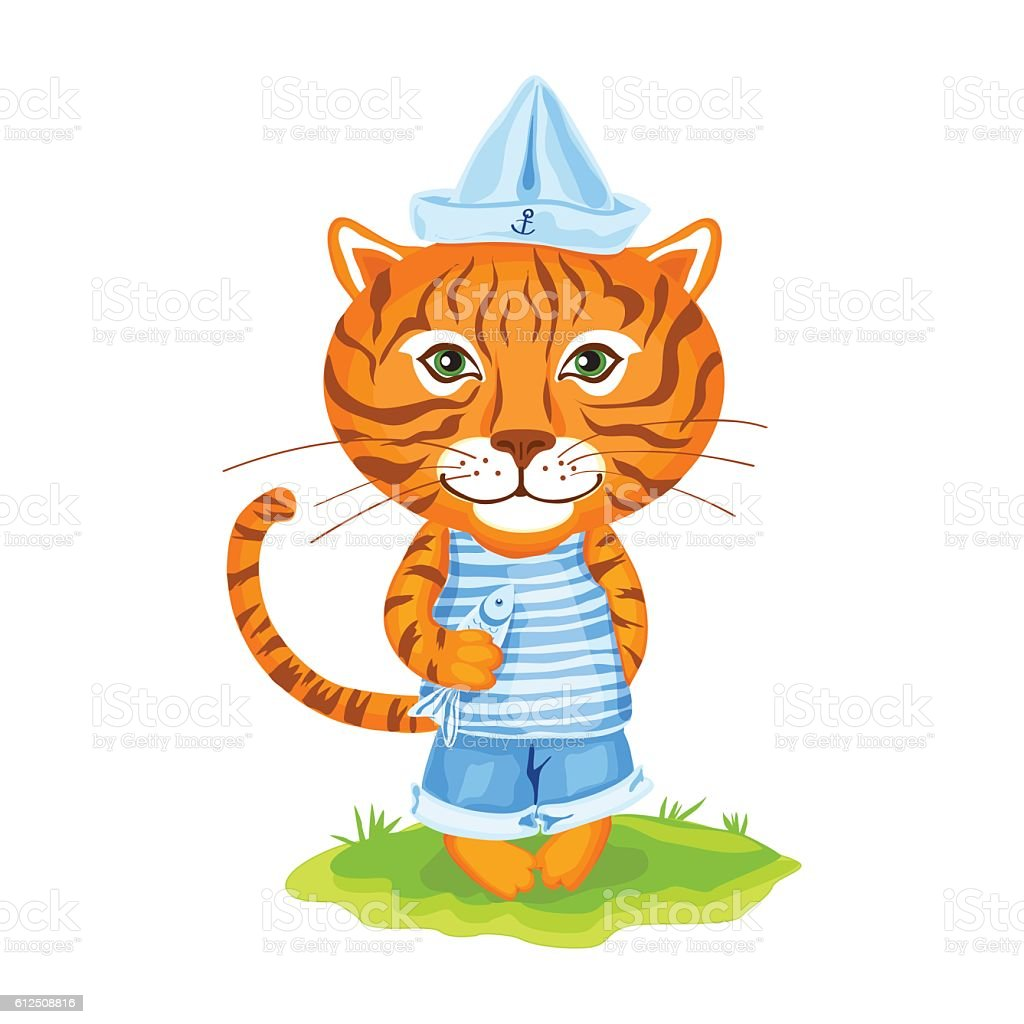 Sailor stock photos illustrations and vector art - Tiger Sailor In Cap Of Boat And Fish On Grass Royalty Free Stock Vector Art
