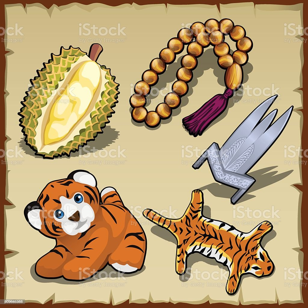 Tiger set, beads and exotic items, five images vector art illustration