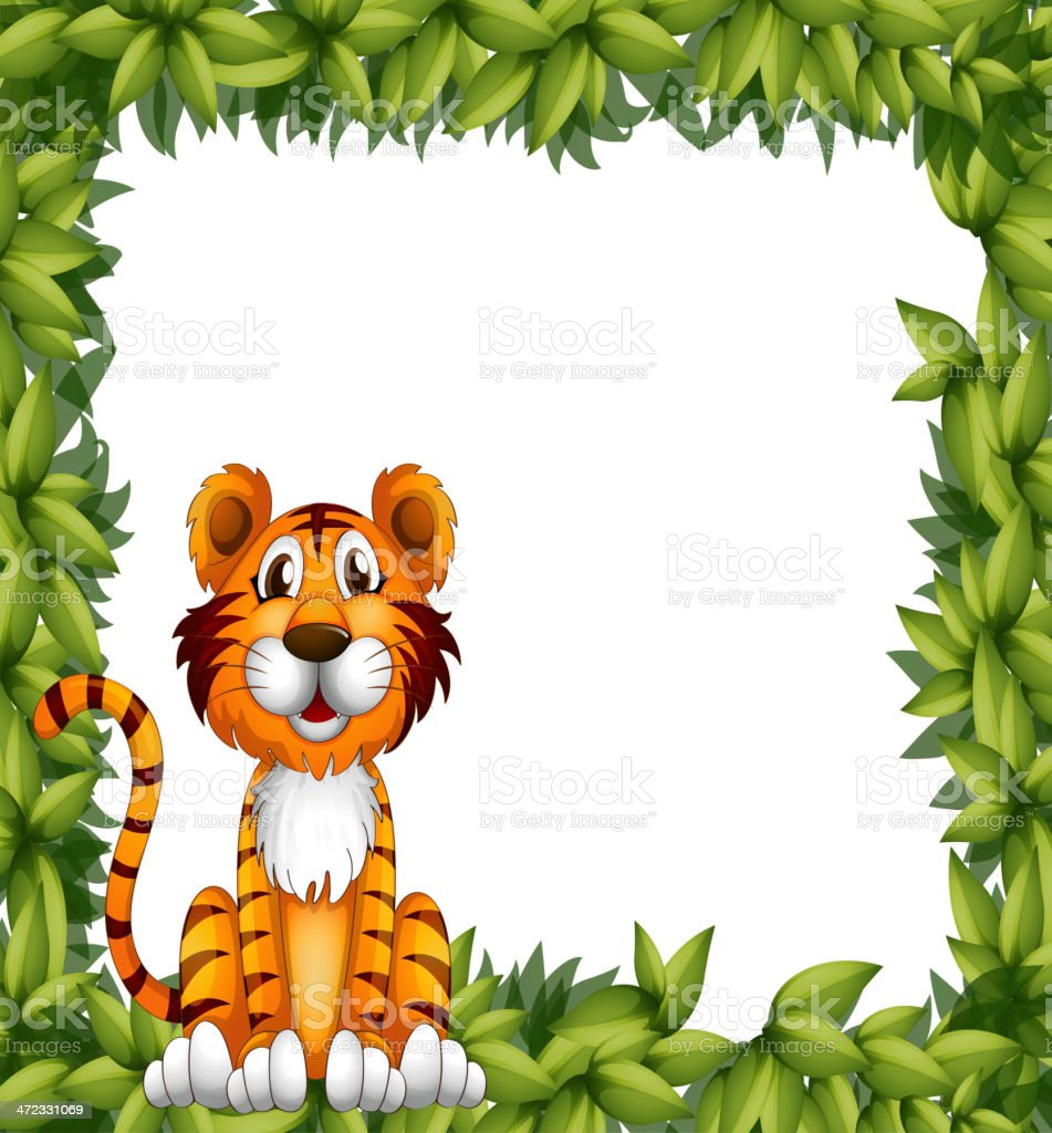 Tiger sitting in a leafy frame royalty-free stock vector art