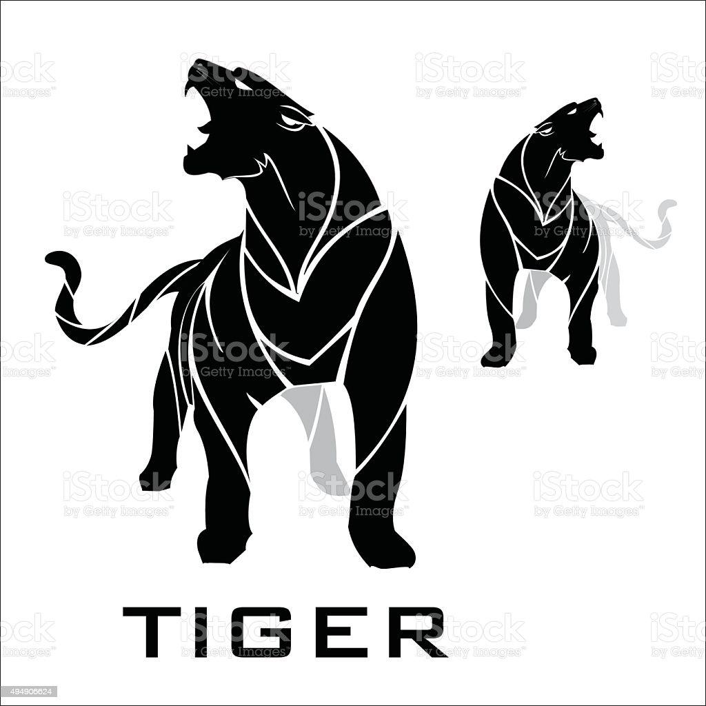 tiger. standing roaring tiger. vector art illustration
