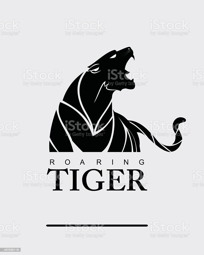 Tiger. Tiger with label. vector art illustration