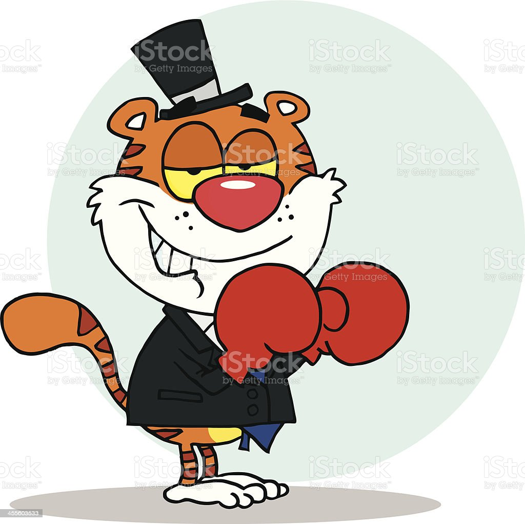 Tiger Wearing Boxing Gloves With Background royalty-free stock vector art