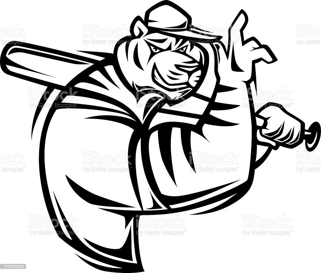 tiger with baseball bat vector art illustration