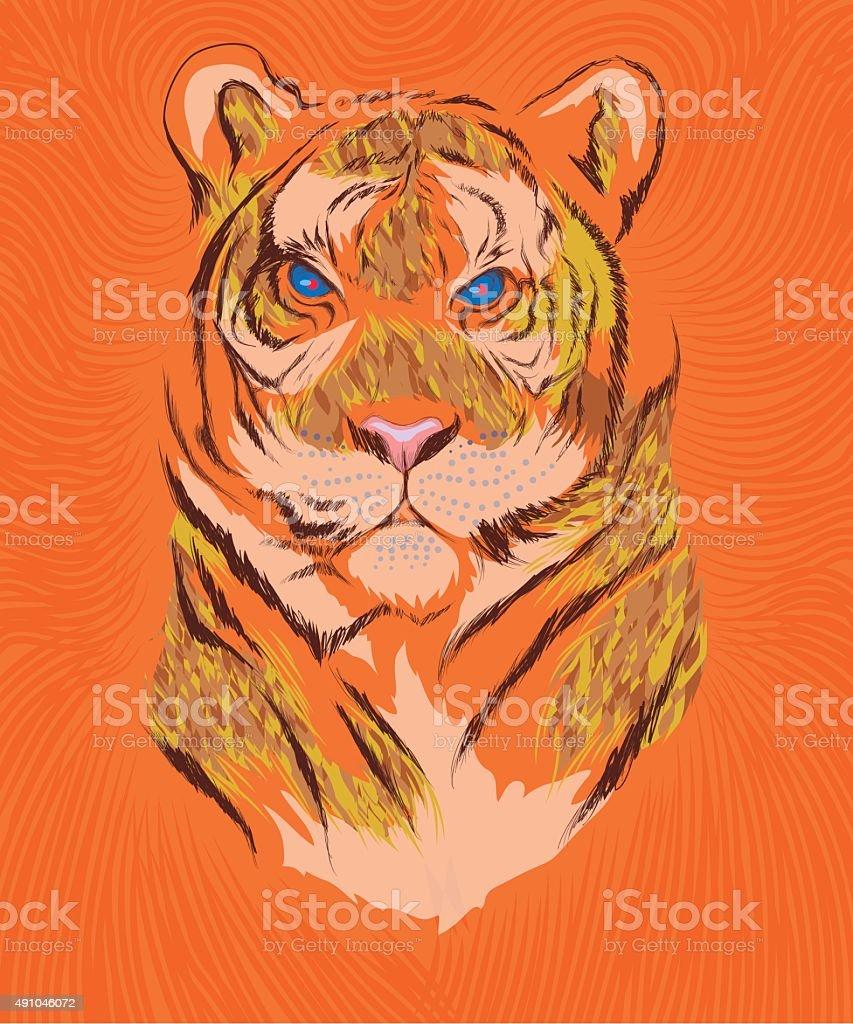 Tiger-over-orange-background vector art illustration