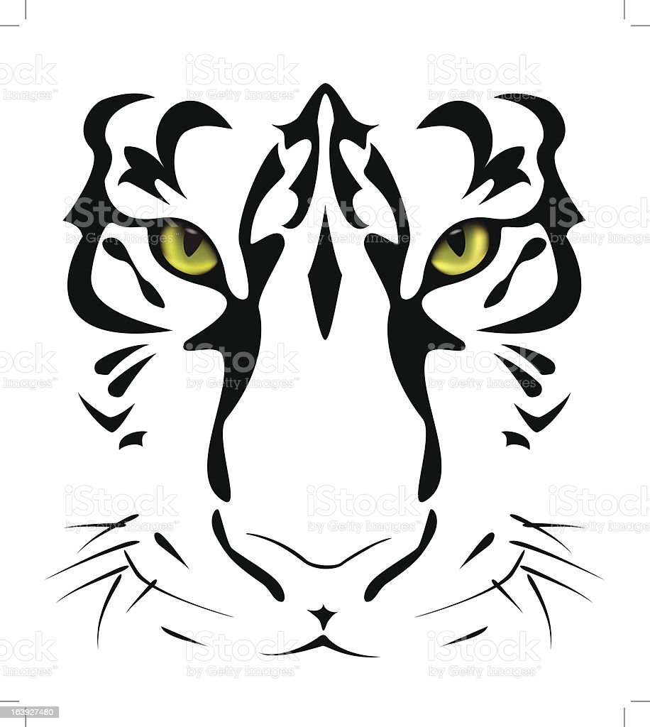 Tiger's eyes and stripes vector art illustration
