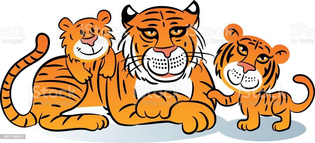 Tigers vector art illustration