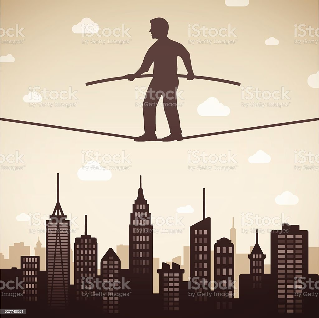 Tight Rope Walker vector art illustration